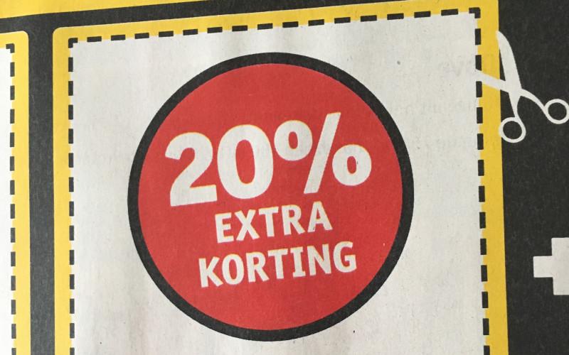 20% extra korting tijdens extra koopavond