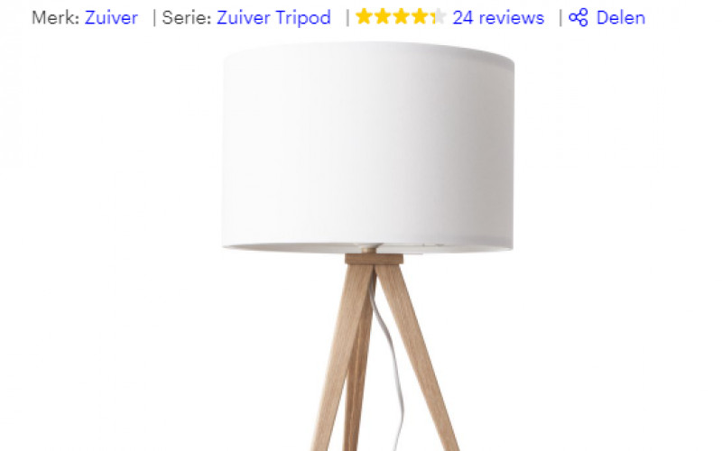 Zuiver Tripod Wood Tafel lamp | Wit | Was €98,99