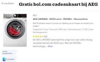 Gratis Bol.com cadeaukaart bij AEG wasmachine