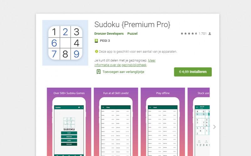 Gratis Sudoku game {Premium Pro} (geen ads!)