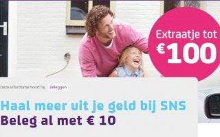 SNS Bank: Extra'tje 20 euro bij 100 euro beleggen!