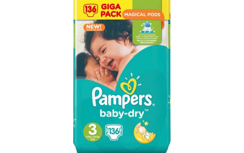 Pampers Baby-Dry, maat 3, 136 stuks: €0,175 per luier!