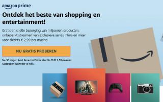 Amazon Prime: 1 maand gratis! Daarna €2,99 p.m.